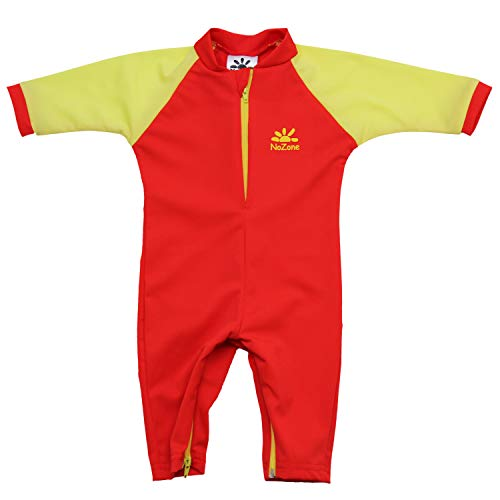 Nozone Fiji Sun Protective Baby Swimsuit in Red/New Lime, 12-18 -