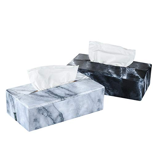Beautyflier Tissue Box Container Organizer Dust Proof Cover Protector Marble Printed Lycra Flexible Soft Rectangle Napkin Dispenser Holder Sleeve (S, Black & Gray) (Box Tissue Rectangle Covers)