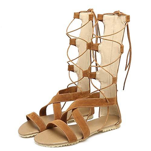JESPER Women Summer Sexy Rope Sandals Shoes Hollow Out Flat Heel High Boots Open Toe Greek Sandals Yellow