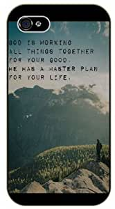 God is working all things together for your good. He has a master plan for your life - Mountains - Bible verse iPhone 4 / 4s black plastic case / Christian Verses by icecream design