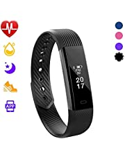 Glückluz Mini Smart Band Fitness GPS Tracker OLED Display Touch Heart Rate Sleep Monitor All-Day Activity Tracker Pedometer Wireless Wristband Bracelet Watch for Sports Exercising Relaxing (Black)