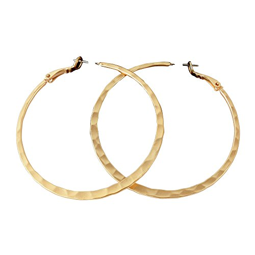 (Miss Mimi | Womens Classic Round Circle Hoops | Large Gold Hammered Texture Dangles Earrings | 2.5 inch)