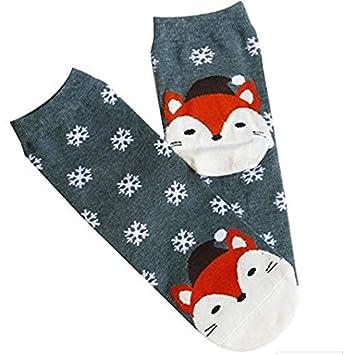 Ecovers Calcetines de algodón Gruesos Suaves de Invierno cálidos Calcetines de Copos de Nieve de Navidad