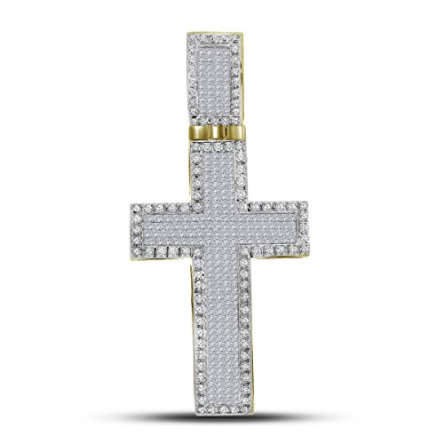 Roy Rose Jewelry 10K Yellow Gold Mens Princess Round Diamond Inset Christian Cross Charm Pendant 1-5/8 Carat tw (Pendant Diamond Rose Setting Invisible)