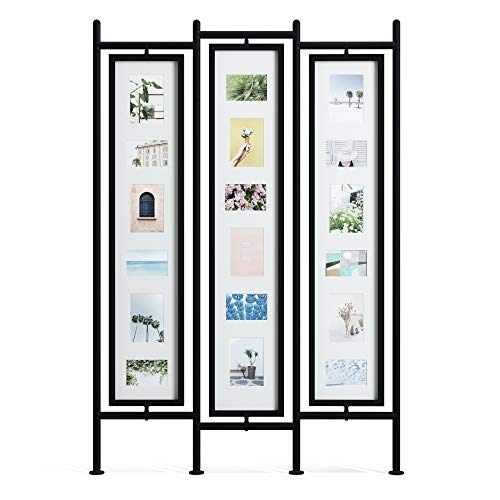 Umbra Pano Large Multi Frame, Holds up to 18 4x6 and 5x7, Modern, White/Black Photo Display/Room Divider