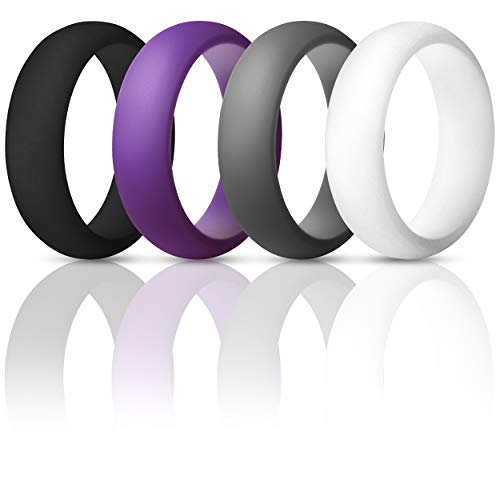 Womens Valentines Day Gift-Silicone Wedding Ring Band - 4 Rings Pack - 5.5mm Wide (2mm Thick) - Purple, Grey, Black, White
