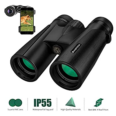 Binoteck 12x42 Binoculars for Adults Low Light Night Vision Compact HD Binoculars for Bird-Watching Travel Hunting Concerts Opera Sports BAK4 Prism FMC Lens with Phone Mount Strap Carrying Bag