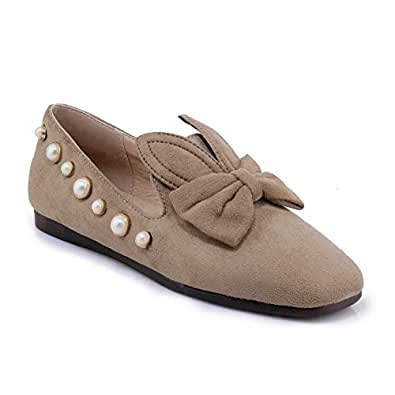 BalaMasa Womens APL11856 Comfort Studded No-Closure Beige Imitated Suede Heels - 2 UK (Lable:33)