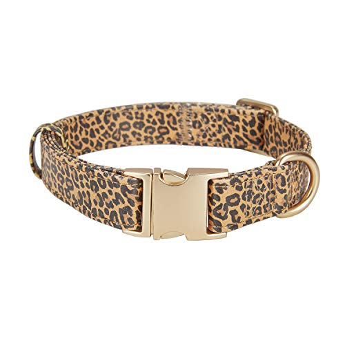 YUDOTE Leather Dog Collar Leopard Pattern, Adjustable Waterproof Collars for Large Medium Small Dogs and Puppies, Heavy Duty and Soft, Metal Buckle