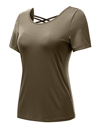 REGNA X NO BOTHER Women's Scooped Regular size Workout Active Short Sleeve Tee,17402_brown,Large (Regular Short Tee Sleeve)