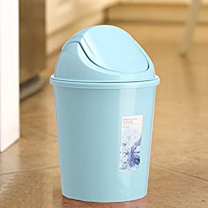 Creative Kitchen Trash Can Trash Can Sitting Room Trash Bins Bedroom With  Swing Lid Waste Container (Blue)