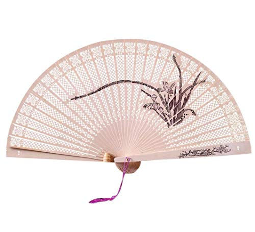 Wensy Chinese Traditional Hollow Fan Wooden Hand Made Exquisite Folding Wedding Gift (Multicolor-C)