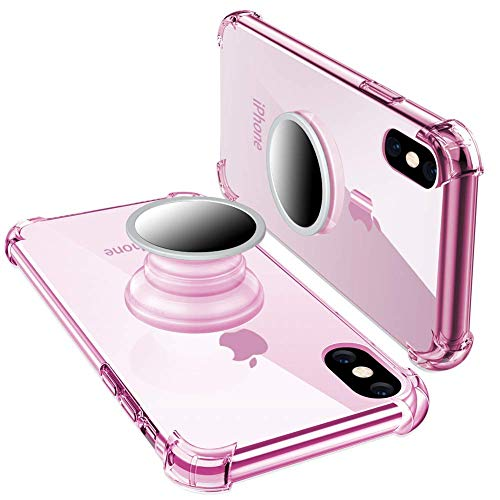 iPhone X Clear Case,iPhone Xs /10 Case with Stand,Yetolee Premium Soft TPU Protective Shockproof Case with Kickstand Iron Mirror [Fit Car Mount] for iPhone Xs 2018 Pink