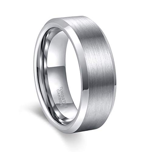 Men Tungsten Wedding Band Rings Silver Matte Polished Comfort fit 4mm 6mm 8mm Beveled Edge Tungsten Ring