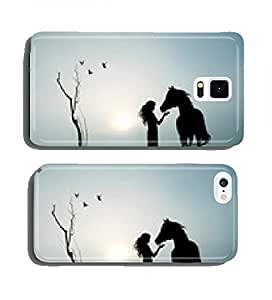 girl and horse in the fog cell phone cover case Samsung S3