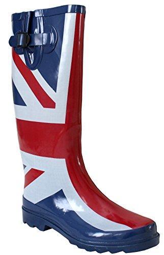Womens Wellies 3 Adjustable Boots Wide Festival Calf Union Width Rain 8 Calf cm Waterproof Wellington Jack 42 UK Maximum Mud Snow Ladies dOPwqd