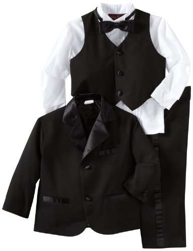 Joey Couture Boys Little Tuxedo No Tail Suit, Black, 6