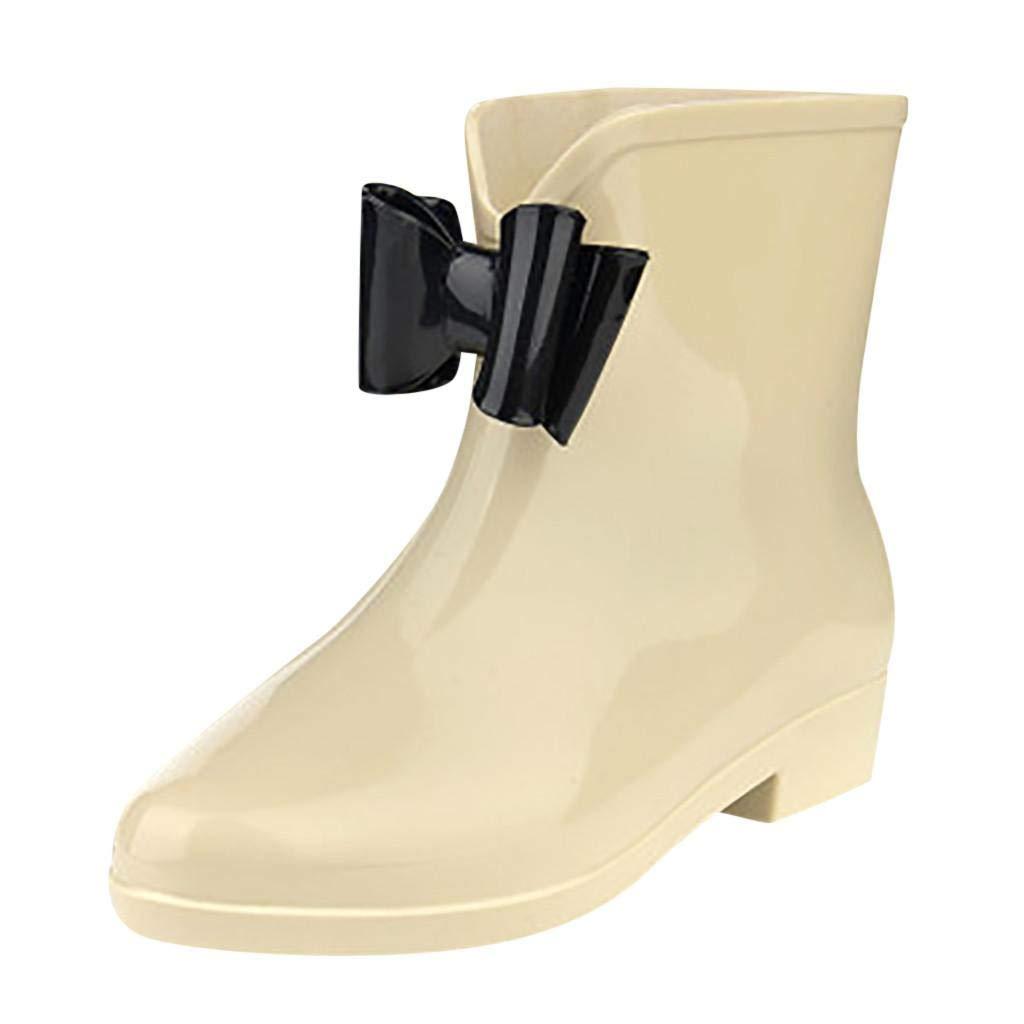 QUICKLYLY Botas de Agua para Mujer Invierno 2019 Botines Cortas//Altas Boots Jard/ín Trabajo Lluvia PVC Goma Impermeables Zapatillas//Zapatos Calzado para Adulto,36-40CN