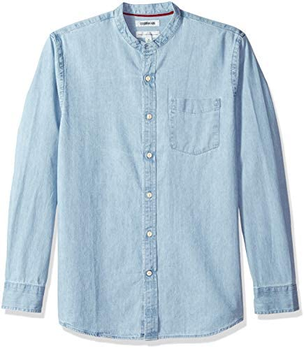 Marca Amazon - Goodthreads – Camisa vaquera de manga larga, cuello en banda y corte estándar para hombre