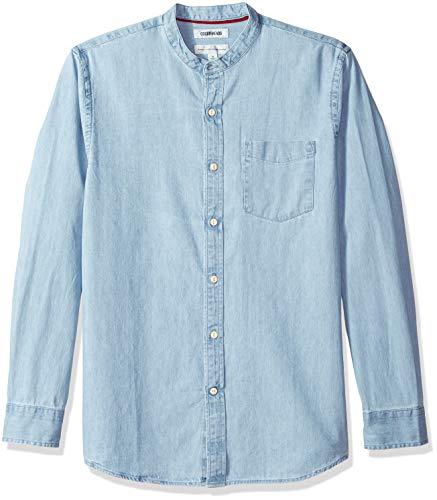 Goodthreads Men's Standard-Fit Long-Sleeve Band-Collar Denim Shirt, -light blue, Large ()