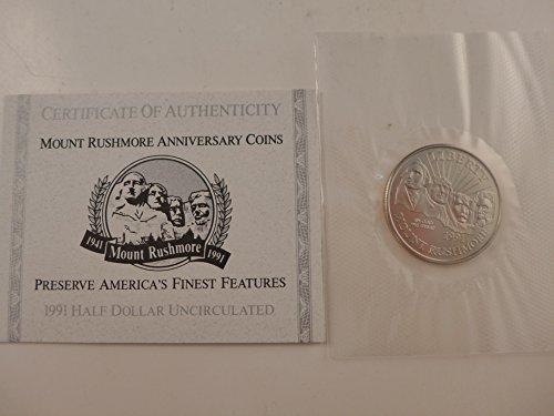 1991 Mount Rushmore Anniversary BU Clad Half Half Dollar Brilliant Uncirculated US Mint