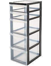 Faites des économies sur Iris Ohyama, armoire de rangement sur roulettes à 5 tiroirs - Design Chest - DC-323, plastique, noir/transparent, 49 L, 40 x 29 x 82 cm et plus encore