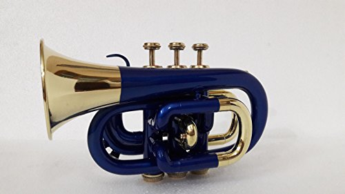 SUMMER VACATION SALE NEW BLUE BRASS FINISH Bb FLAT POCKET TRUMPET+FREE CASE+M/P by SAI MUSICAL (Image #2)