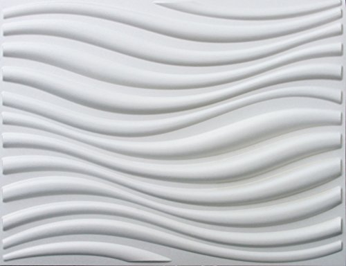 3D wall panels glue up (bamboo pulp) box of 12 white panels covers 64 sq.ft. Eco Friendly Modern Plant Fiber 3D Decorative wall panels - Elegant wave design for Modern Wall Decor. Model #3D-77