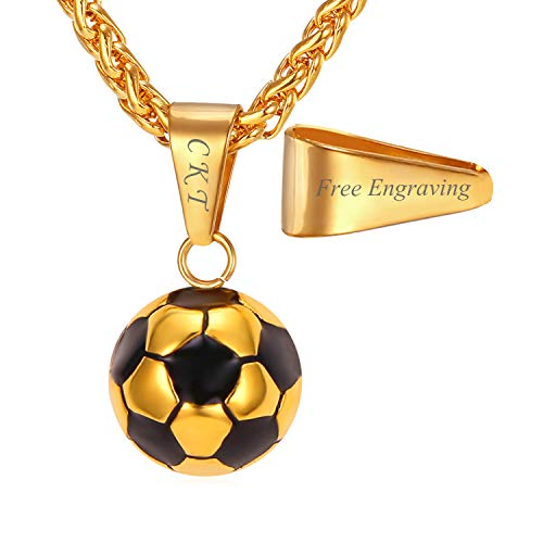 - U7 Stainless Steel Black Enamel & White Soccer Ball Pendant with 22 Inch Wheat Chain (A. Gold (Personalized))