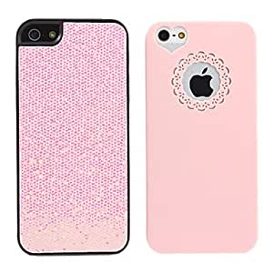 xiao 2 in 1 Light Pink Sweet Heart+Light Pink Bling Back Case for iPhone 5/5S