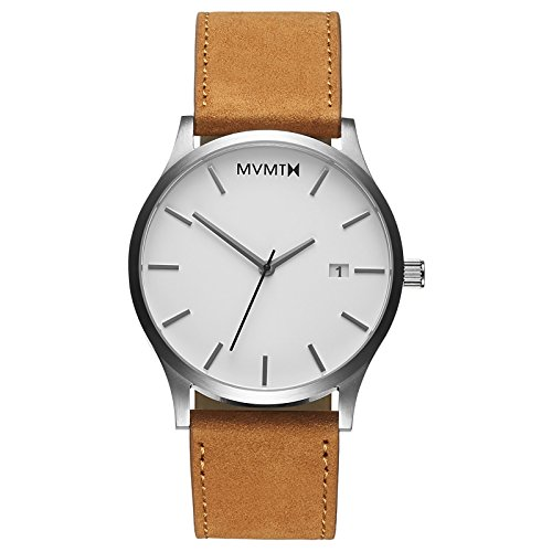 MVMT Classic Watches | 45 MM Men's Analog Minimalist Watch | White Tan