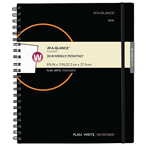 "AT-A-GLANCE Weekly / Monthly Appointment Book / Planner, January 2018 - December 2018, 8-3/4"" x 11"", Color Will Vary (70595000)"
