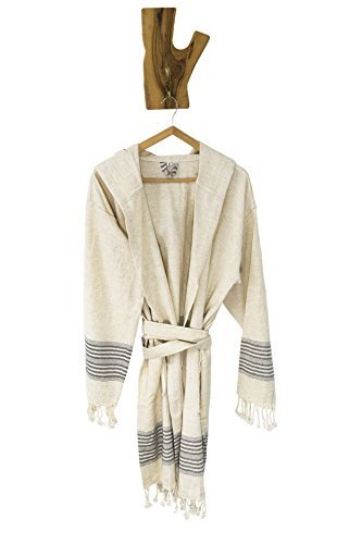 Ahenque Large Size (L), Premium Quality Linen Bathrobe with Hood, Hand-Loomed, Eco-Friendly Turkish Bathrobe, Natural Look Linen Bathrobe Striped with Colors, Unisex Kimono Bathrobe,Black Stripes