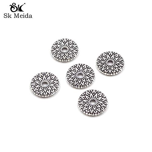 Calvas 100pcs Flower Pattern Flat Spacer Beads Metal 12mm Vintage Silver Plated Beading Accessories for DIY Jewelry AB-218
