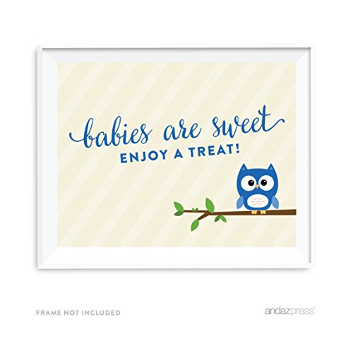 Andaz Press Boy Owl Baby Shower Collection, Party Sign, Babies are Sweet Enjoy a Treat, 8.5x11-inch, 1-Pack, Dessert Table Candy Bar Sign -