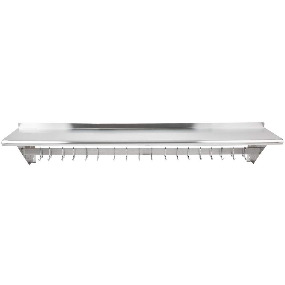 Hakka 15'' x 72'' Commercial Stainless Steel Wall Mounted Pot Rack with Shelf and Hooks