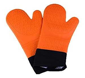 Byoung Professional Waterproof Silicone Oven Mitt Extra Long Oven Mitts Gloves 2 Pieces Orange