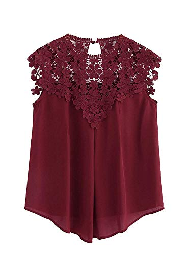 Milumia Women's Keyhole Back Daisy Lace Shoulder Shell Top X-Large Burgundy