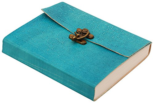 BIG PRIME DISCOUNT – Leather Turquoise Pocket Travel Premium Quality Leather Writing Sketchbook / Scrapbook Notebook Diary with Handmade Paper and S…