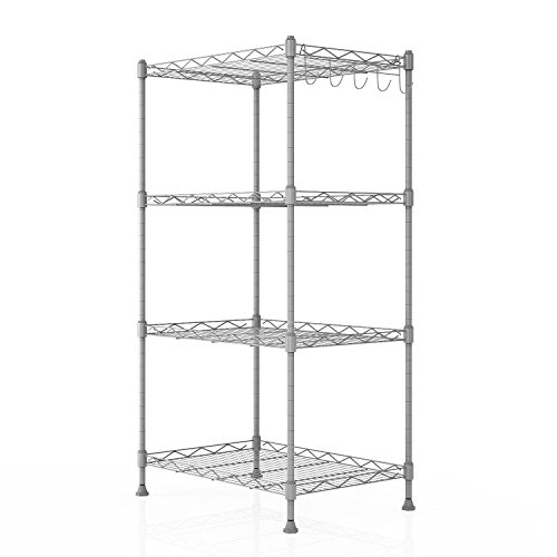 Shelving Unit Storage Standing Shelf Units Adjustable 4 Shelves Chrome Iron Wire Cabinets for Kitchen Bathroom Garage Closet Laundry Room (SIL) by Utheing