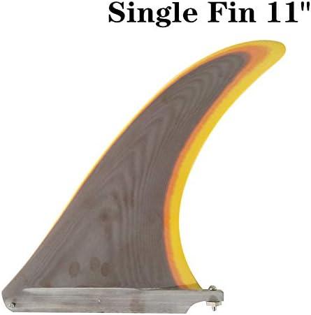 サーフロングボードフィングラスファイバー11長サーフフィンブラウン色フィンサーフボードフィン11の長さ