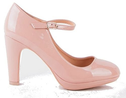 SHU CRAZY Isabel High Heel Court Shoes-Nude Patent Faux Leather-UK 6/EU 39 VBmUwiqF