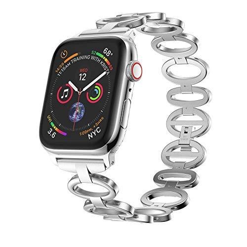 Bracelet Style Unisex Watch - Men Women Wristband Bracelet - Stainless Steel Chain Style Bracelet Smart Watch Band Strap for Apple Watch iWatch Series 4 40mm/44mm (Silver, Apple Watch Series 4 44MM)