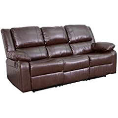 The contemporary Brown Leather Reclining Sofa offers the perfect balance of relaxation and comfort with generously padded arms and plush pillow back cushions.Reclining furniture offers the best in relaxation for you to kick up your feet to wa...
