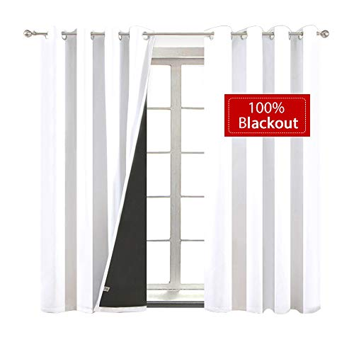 (Yakamok Soundproof 2 Thick Layers 100% Completely Blackout Curtains, Thermal Insulated Drapes with Black Liner for Kitchen/Bedroom(52Wx63L,Pure White,2 Panels))