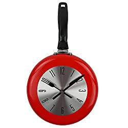 Wall Clock, TimeLike 8 inch Metal Frying Pan Kitchen Wall Clock Home Decor - Kitchen Themed Unique Wall Clock (Red)