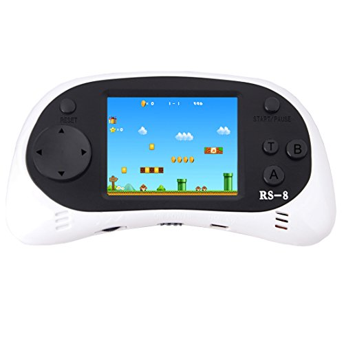 ZHISHAN Handheld Game Console for Children Built in 260 Classic Old Video Games Retro Arcade Gaming Player Portable Playstation Boy Birthday or Christmas Gift 8 Bit Rechargeable (White)
