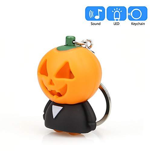 Halloween Pumpkin Cartoon Keychain - Mini Flashing LED and Realistic Sound Keyfob, Cute Doll Keychain for Car Keyring, Charm Gift -