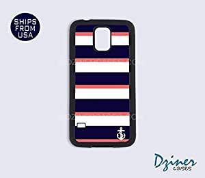 Galaxy Note 3 Case - Blue White Coral Stripes Anchor