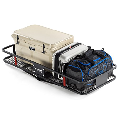 "60"" x 24"" Cargo Hitch Carrier by Vault – Haul Your Cooler & Camping Gear with this Rugged Steel Constructed Storage Rack & Basket for Your Truck or SUV – Easily Mounts to Trailer Towing Hitches"